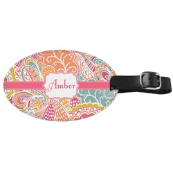 Abstract Foliage Genuine Leather Luggage Tag (Personalized)