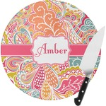 Abstract Foliage Round Glass Cutting Board (Personalized)