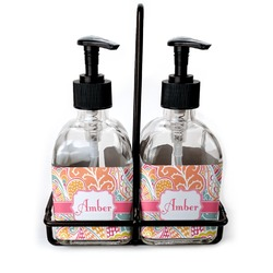 Abstract Foliage Soap & Lotion Dispenser Set (Glass) (Personalized)