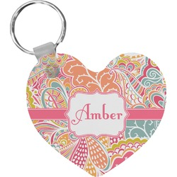 Abstract Foliage Heart Keychain (Personalized)