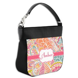 Abstract Foliage Hobo Purse w/ Genuine Leather Trim (Personalized)
