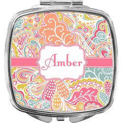 Abstract Foliage Compact Makeup Mirror (Personalized)