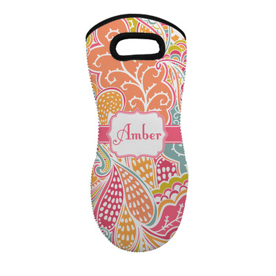 Abstract Foliage Neoprene Oven Mitt - Single w/ Name or Text