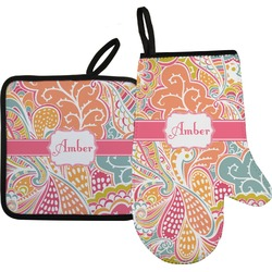 Abstract Foliage Oven Mitt & Pot Holder Set w/ Name or Text