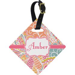 Abstract Foliage Diamond Luggage Tag (Personalized)