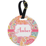 Abstract Foliage Plastic Luggage Tag - Round (Personalized)
