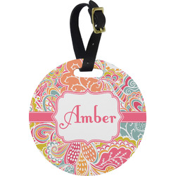 Abstract Foliage Round Luggage Tag (Personalized)