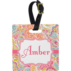 Abstract Foliage Square Luggage Tag (Personalized)