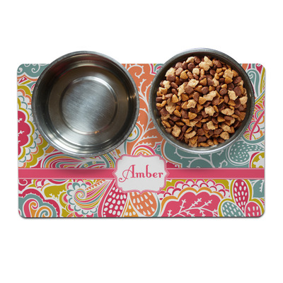 Abstract Foliage Dog Food Mat (Personalized)