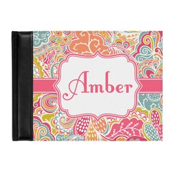 Abstract Foliage Genuine Leather Guest Book (Personalized)