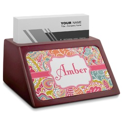 Abstract Foliage Red Mahogany Business Card Holder (Personalized)