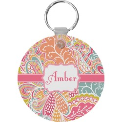 Abstract Foliage Round Keychain (Personalized)