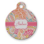 Abstract Foliage Round Pet Tag (Personalized)