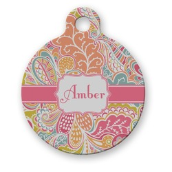 Abstract Foliage Round Pet ID Tag (Personalized)