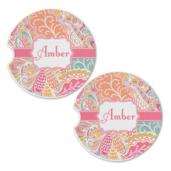Abstract Foliage Sandstone Car Coasters - Set of 2 (Personalized)