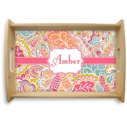 Abstract Foliage Natural Wooden Tray (Personalized)