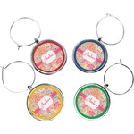 Abstract Foliage Wine Charms (Set of 4) (Personalized)