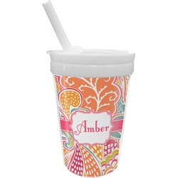 Abstract Foliage Sippy Cup with Straw (Personalized)