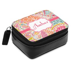 Abstract Foliage Small Leatherette Travel Pill Case (Personalized)