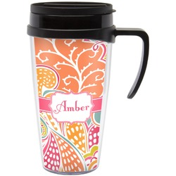 Abstract Foliage Travel Mug with Handle (Personalized)