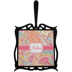 Abstract Foliage Trivet with Handle (Personalized)