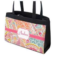 Abstract Foliage Zippered Everyday Tote (Personalized)