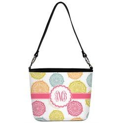 Doily Pattern Bucket Bag w/ Genuine Leather Trim (Personalized)