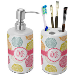 Doily Pattern Ceramic Bathroom Accessories Set (Personalized)
