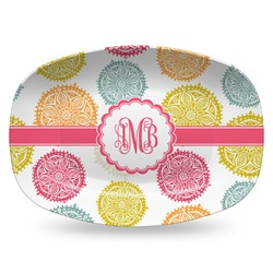 Doily Pattern Plastic Platter - Microwave & Oven Safe Composite Polymer (Personalized)