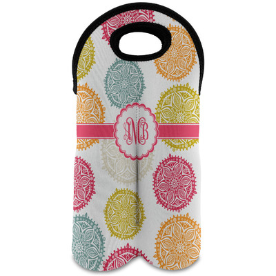 Doily Pattern Wine Tote Bag (2 Bottles) (Personalized)