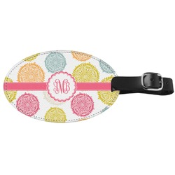 Doily Pattern Genuine Leather Oval Luggage Tag (Personalized)