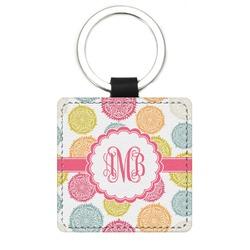 Doily Pattern Genuine Leather Rectangular Keychain (Personalized)