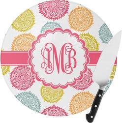 Doily Pattern Round Glass Cutting Board (Personalized)