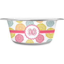 Doily Pattern Stainless Steel Pet Bowl - Medium (Personalized)