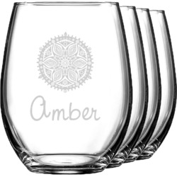 Doily Pattern Wine Glasses (Stemless- Set of 4) (Personalized)