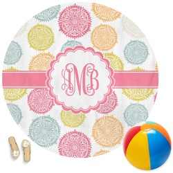 Doily Pattern Round Beach Towel (Personalized)