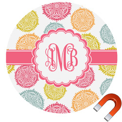 Doily Pattern Round Car Magnet (Personalized)