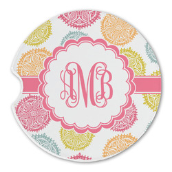 Doily Pattern Sandstone Car Coasters (Personalized)