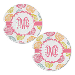Doily Pattern Sandstone Car Coasters - Set of 2 (Personalized)