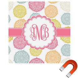Doily Pattern Square Car Magnet (Personalized)