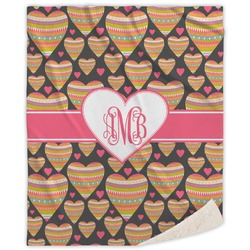 Hearts Sherpa Throw Blanket (Personalized)