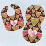 Hearts Baby Bib & Burp Set w/ Monogram