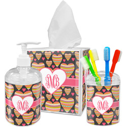 Hearts Acrylic Bathroom Accessories Set w/ Monogram