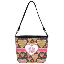 Hearts Bucket Bag w/ Genuine Leather Trim (Personalized)