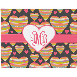 Hearts Woven Fabric Placemat - Twill w/ Monogram