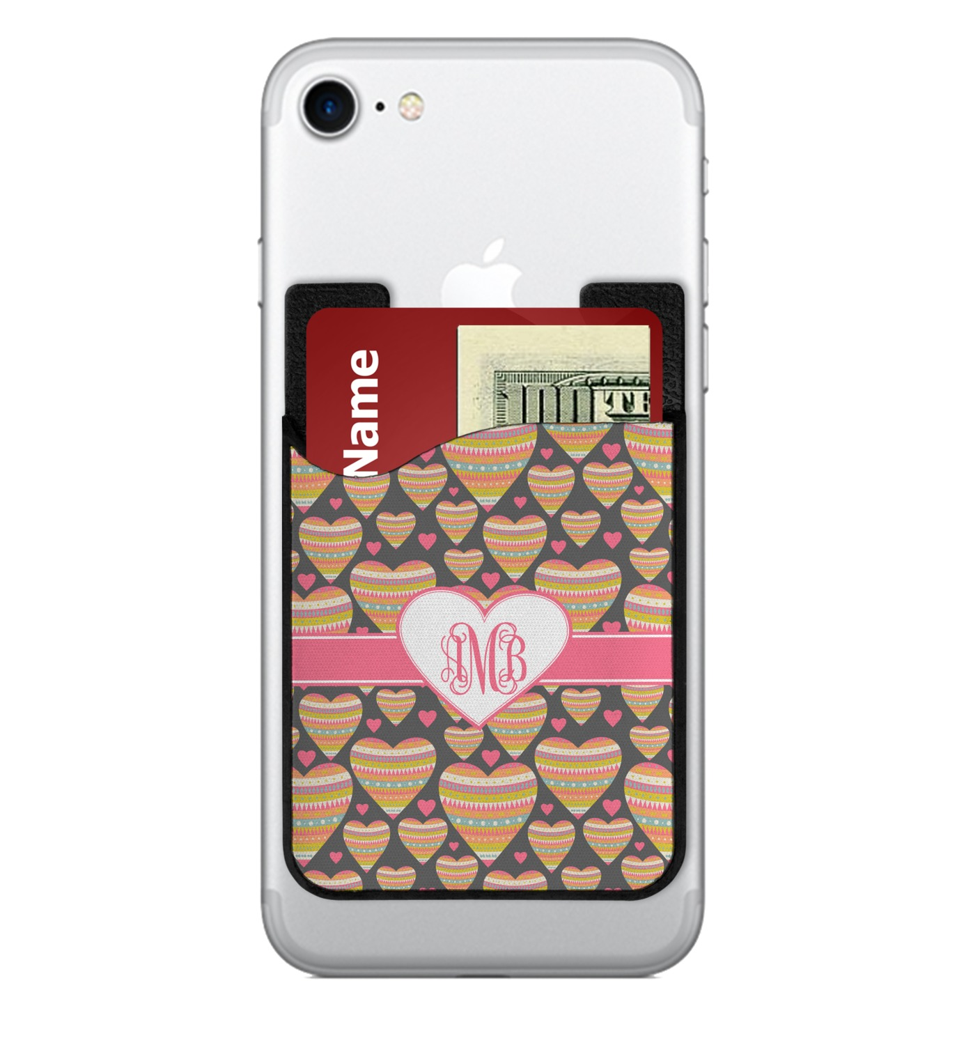 Hearts Cell Phone Credit Card Holder Personalized