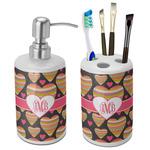 Hearts Ceramic Bathroom Accessories Set (Personalized)