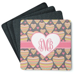 Hearts 4 Square Coasters - Rubber Backed (Personalized)