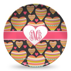 Hearts Microwave Safe Plastic Plate - Composite Polymer (Personalized)