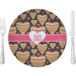 "Hearts 10"" Glass Lunch / Dinner Plates - Single or Set (Personalized)"